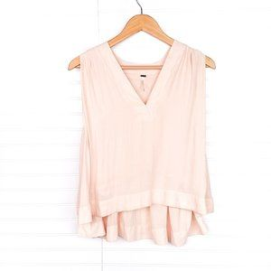 Free People Peach/Nude High-Low V-Neck Tank Top